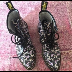 Black Floral Dr. Martens with Pointed Toe.